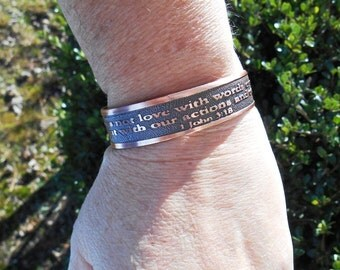 John 3 18, Bible Verse Bracelet, Religious Gifts, Inspirational Gifts, Religious Jewelry, Gift for Her, Religious Bracelet, Bible Verse Cuff