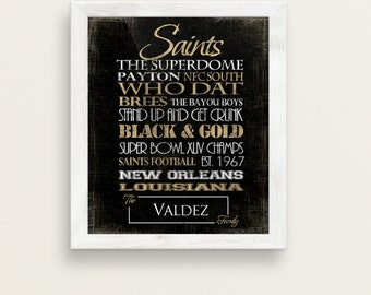 New Orleans Saints. Personalized Print or Canvas. Gift for Saints Football Fans. New Orleans Art. New Orleans Art. saints subway art. NFL