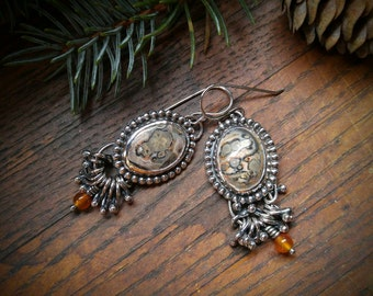 Leopard Skin Jasper and Sterling Silver Earrings. Earth-Toned, Oval Jasper. Carnelian Beads with Silver Accents. Deer Antler Detail on Back.