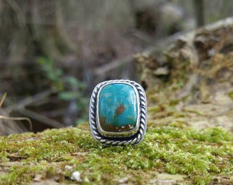 Patagonia Turquoise and Sterling Silver Ring. Blue, Green and Brown Turquoise. Rope Detailing, Rectangular Stone, Boho Style. US 6-1/2