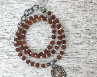 Rudraksha Mala Prayer Bead Necklace / Bracelet with Antique Indian Silver  Durga Amulet