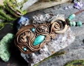 Protection and Manifestation Necklace with Timber, Amazonite Gemstone ... Clay with Healing Gemstone and Crystal Jewelry.