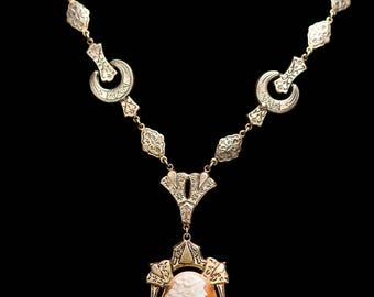 Edwardian Necklace Taille d'epargne Carved Shell CAMEO Necklace CZECHOSLOVAKIA