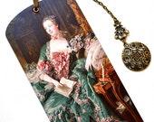 Bookmark with Bronze Pendant - Madame de Pompadour - Portrait - Handmade