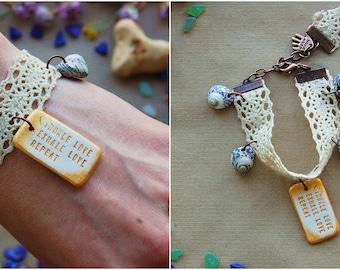 Custom Engraved Bracelet - Mermaid Jewelry - Seashell Bracelet - Personalised Words