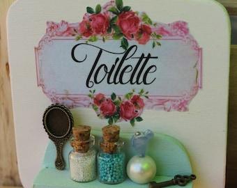 Shabby chic romantic vintage bathroom handmade door hanger wood sign with bronze mirror, perfume,key -Wall decor