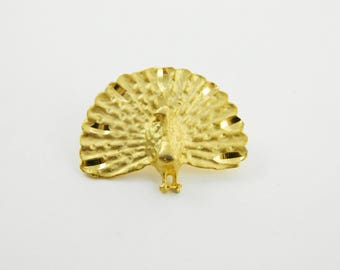 Vintage Gold Peacock Brooch
