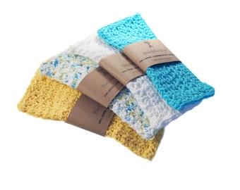 Natural Washclothes, Set of 4, Natural Washcloth, Wash Cloth, Cotton Washcloth, Crochet Washcloth, Eco Friendly, Wash Cloth, Cotton, Natural