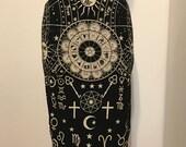 Black cotton zodiac astrological print pencil skirt