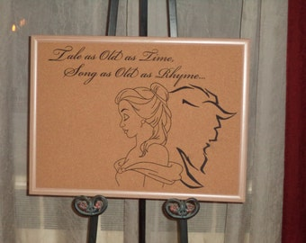 Beauty & the Beast Etched Cork Board
