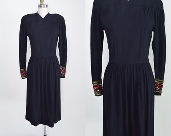 Vintage 1940s Dress 40s Cocktail Dress Black Crepe Sequined Mil Jay Original