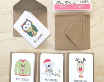 Christmas Mini Gift Card Pack + Envelopes - Assorted - Reindeer, Ugly Jumper, Koala, Owl Xmas Lights - Set of 4 (1 of each design)  - GC08