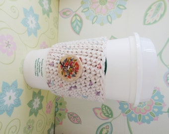 Crochet Cotton Beige and Pastel Specks with Wooden Tree Button Cozy/Sleeve, Eco Friendly Cup Cozy/Sleeve - Ready to Ship