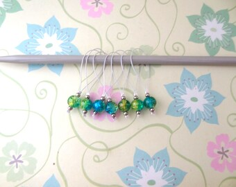 Set of 7 Silver Snag Free Stitch Markers for Knitting with Turquoise Blue and Yellow Beads - Ready to Ship