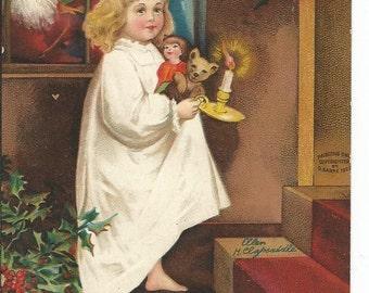 Antique 1909 Ellen Clapsaddle Christmas Santa Postcard