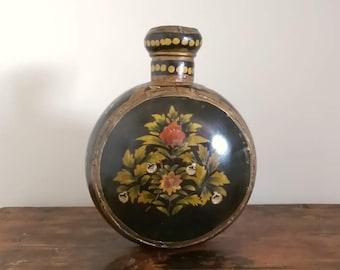 Antique Indian Handpainted Toleware Moon Flask c1900