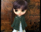 Middie Blythe Doll Knitted Alpaca Cardigan - Green with Teal