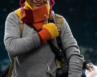 Hat, mittens, scarf in Jayne colors
