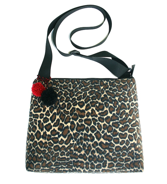 Leopard, velvet, retro, pom poms, large, cross body bag