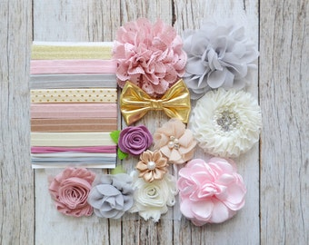 Shabby Chic DIY headband kit- Vintage baby shower headband kit, DIY baby headbands, headband station, makes 10 headbands with instructions