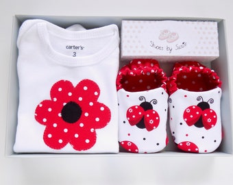Ladybug Baby Girl Onesie with Baby Shoes, Onesie Size- 3 mos, Shoe Size: 0-6 mos, Baby Girl One Piece, Gift for Baby Girl, Ready to Ship