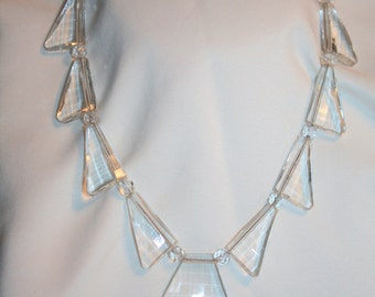Crystal Art Deco Necklace  Antique 1930s Jewelry, Geometric Art Deco Pendant