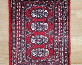 Small Vintage Rug - Hand Knotted Small Vintage Red Wool Rug or Mat - Boho Chic