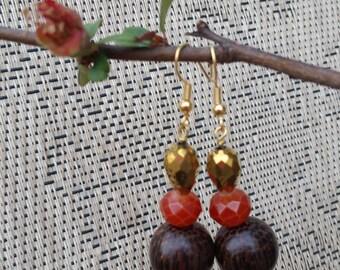 Brown, Gold and Carnelian Beaded Dangle Earrings