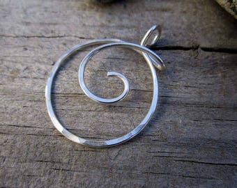 XL Minimalist Heavy Gauge Spiral Wrap Charm Holder / Ring Holder Pendant - Free Form Sterling Wire Work
