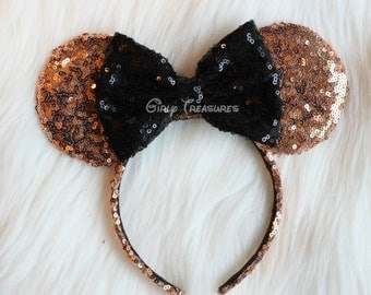 Rose Gold Mouse Ears Headband. All Over Sequin Mouse Ears. Mouse Ears Headband. Disney Headband. One Size Fits Most.