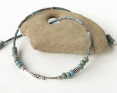 Silver choker necklace - sterling & turquoise blue picasso Czech glass beads