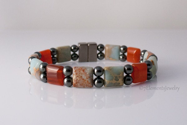 Magnetic hematite bracelet with aqua terra jasper and for How does magnetic jewelry work