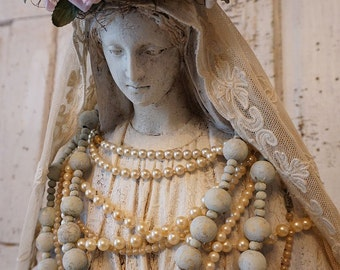 Virgin Mary statue w/ halo crown shabby cottage chic Madonna figure hand painted rosary tambour lace French Nordic decor anita spero design