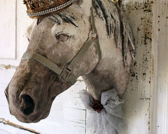 Horse head wall mount faux painted white gray French Farmhouse ornate taxidermy sculpture shabby distressed chic decor anita spero design