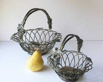 Two Vintage Godinger Silver Plated Baskets, Grape Leaf Metal Baskets, Woven Wire Baskets Grape and Leaf Motif