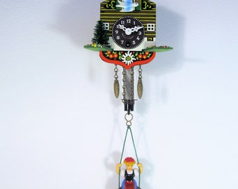 Vintage Cuckoo Clock from West Germany Small Bobbing Cuckoo on the upper balcony Retro Decoration Wall Hanging 70s