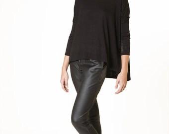 Oversize Black top, winter top, Geometric knit top, Flexible black shirt, loose fit shirt, black blouse, Boat neck, office shirt, casual top