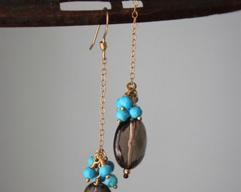 Smoky quartz and turquoise earrings on 14kt gold filled chain and ear wires