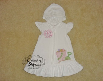 Baby or toddler girls embroidered name or monogrammed beach pink sand pail bucket applique on white terry swim coverup dress