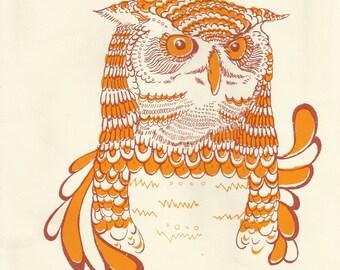 Retro Owl Print - Bohemian - Mod - 1960s/70s - A4 Owl Painting
