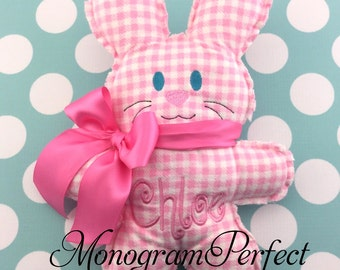 CHLOE - Already Personalized Pink Gingham Rag Bunny Rabbit (Ready To Ship)