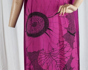 1970s Molahini magenta floral dress with tails. Hawaiian, floral, sleeveless,