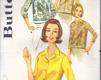 """Vintage 1960's Butterick 2683 Blouse in Four Versions Sewing Pattern Size 16 Bust 36"""""""