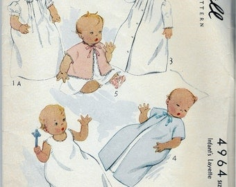 Vintage 1942 McCall 4964 Infants Layette Sewing Pattern One Size