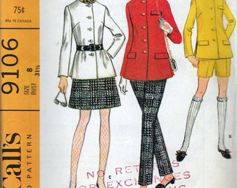 Vintage 1967 McCall's 9106 Misses Coordinates Mod Jacket, Skirt & Pants or Shorts Sewing Pattern Size 8 Bust 31 1/2""