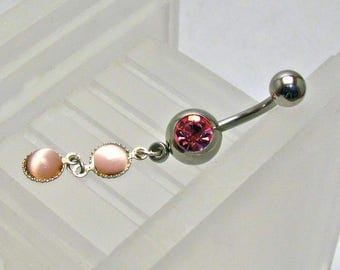 Pink Cat's Eye Dangles Belly Ring ~ Summer Style Navel Ring ~ Belly Button Ring ~ Piercing Body Jewelry: Surgical Steel - Hypo Allergenic