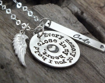 Angel Husband Loss of Husband Memorial Necklace Sterling Silver Personalized Memorial Gift Idea Remembrance Jewelry Sympathy Gift