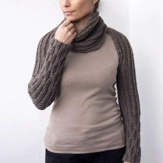 Knitting Pattern Scarf With Sleeves : Crochet PATTERN28 women long scarf knit look long sleeves