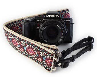 Camera Strap - Red Peacock Feathers Woven Ribbon on Organic Hemp Webbing and Webbing ends - works with DSLR, SLR and Manual Cameras