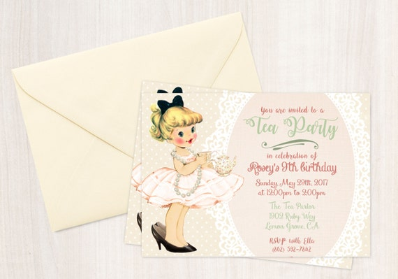Vintage Tea Party Customizable Birthday Invitations, Cute Birthday, Girl Birthday Invitations, Tea Party Birthday, Printable Invitations